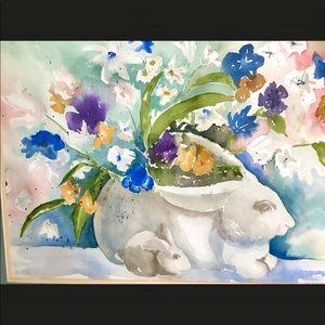 Framed Spring Flowers Easter Bunny WATERCOLOR Art